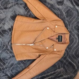 F21 Plus Size brown faux leather Moto jacket